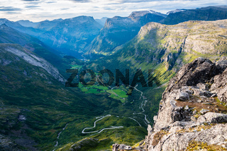 Panoramic view of Geiranger fjord and village from Dalsnibba viewpoint, Norway