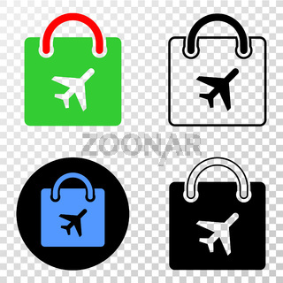 Airport Shopping Bag Vector EPS Icon with Contour Version