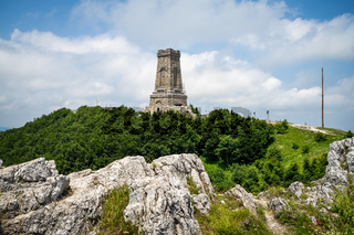 Shipka Monument on Stoletov Peak - Liberation of Bulgaria during the Battles of Shipka Pass in the Russo-Turkish War of 1877-78. The text in Cyrillic is the name of the cities Shipka and Stara-Zagora.