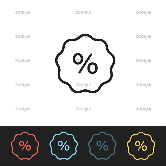 Discount icon with colored templates. Percentage symbol or sale template. Marketing element.