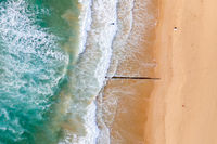 Aerial view of beach with surfers