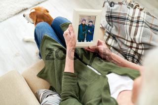Senior woman remembering husband