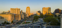 Over Logan Square in Philadelphia looking at Down Vine Street