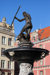 Neptune Fountain in City of Gdansk
