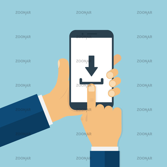 Man hands holding smartphone with download sign on screen. Finger touching smartphone screen in trendy flat style.