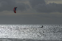 Kite Surfer in the evening sun on the Wadden Sea