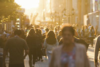 Silhouettes of people crowd walking down the street at summer evening, beautiful light at sunset