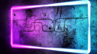 Colorful neon lights on wall, abstract background