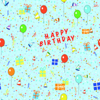 happy birthday wrapping paper for kids,  seamless pattern illustration