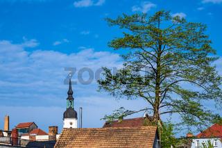 Kirchturm, Dächer und Baum in Lübbenau