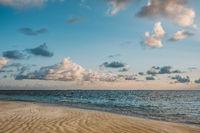 standing on beach looking on ocean horizon in evening sun