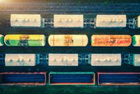 Aerial view of freight trains. Railway cargo wagons