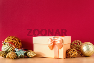 Christmas gift box on red background