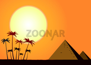Summer sunset with pyramids