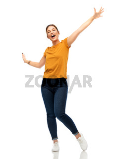 happy young woman or teenage girl having fun
