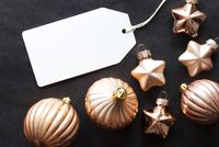 One Label, Golden Christmas Decoration, Copy Space