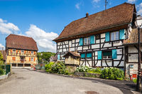 A small ancient town Waldighoffen in the Alsace region in Eastern France