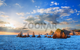 Evening Atlantic landscape, Asturias, Spain.