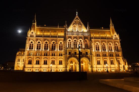 Hungarian Parliament Building At Full Moon Night