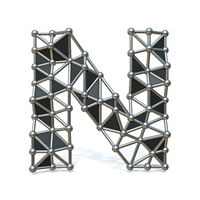 Wire low poly black metal Font Letter N 3D