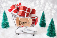 Shopping Cart, Christmas Gift, Snow, Danke Means Thank You