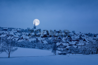 Holzbronn Germany winter scenery by night