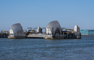 Thames barrier across river in Greenwich