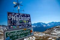 GROSSGLOCKNER, AUSTRIA - SEPTEMBER 16, 2012: A road sign along the Grossglockner High Alpine Road in Austria