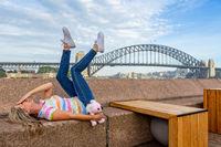 Happy tourist  at Circular Quay in Sydney Australia
