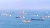 Singapore harbor cargo ships overview