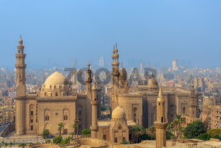 Aerial view of Cairo city from Salah Al Deen Citadel with Al Sultan Hassan and Al Rifai Mosques, Cairo, Egypt