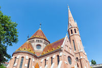 Calvinist Church with beautiful roof plates Budapest, Hungary