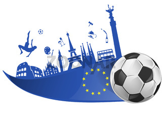 european flag with soccer ball and monument symbol