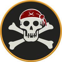 Pirate circular emblem with text, skull and bones.