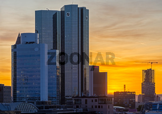 Sunset in the city of Frankfurt