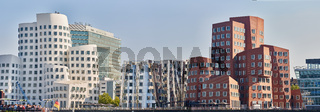 DUESSELDORF, GERMANY - SEPTEMBER 14, 2016: The media harbor is famous for its modern buildings and the panorama