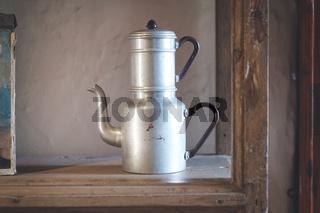double tea kettle pot vintage old kitchenware ,