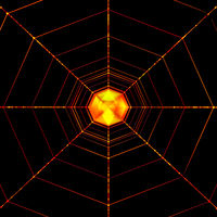 Orange Glowing Abstract Spider Net Isolated On Black. Halloween Background