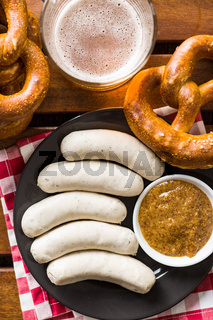 The bavarian weisswurst, pretzel and mustard.