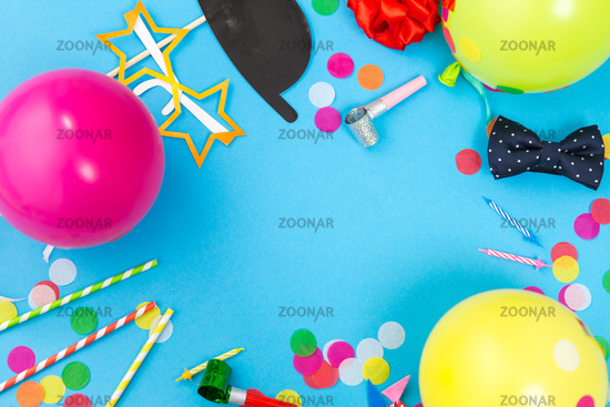 birthday party props, balloons and confetti
