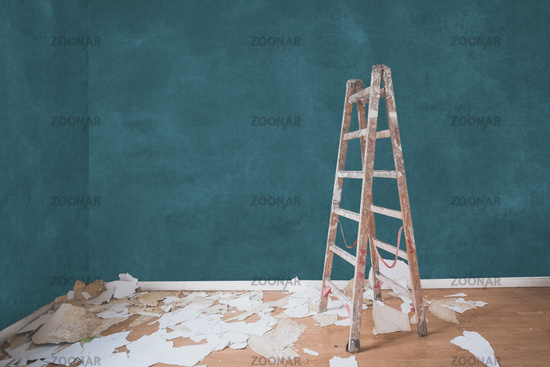 renovation concept, ladder in empty apartment room   -