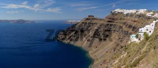 View from Fira village to caldera sea at Santorini island, Greece