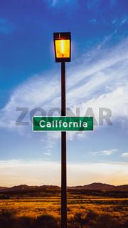 Retro Californa Sign In The Desert