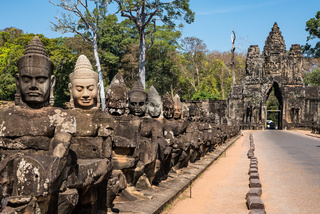 South gate to angkor thom in Cambodia, Asia