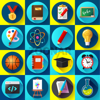 Set of flat school and education icons vector illustration