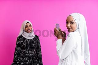 girls taking self portrait