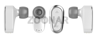 Wireless in-ear earphones isolated on white