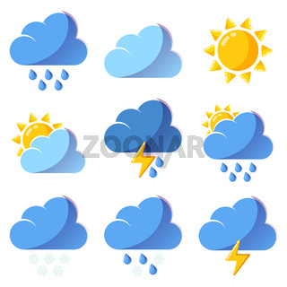 Weather icons forecast colorful vector icons set