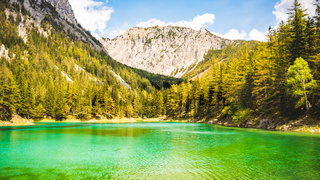 Gruner See, Austria Peaceful mountain view with famous green lake in Styria. Turquoise green color of water. Travel destination