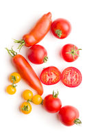 Tasty various tomatoes isolated on white background.